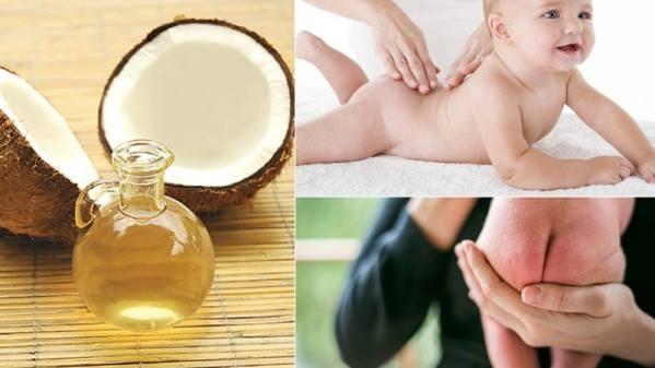 Massage cho bé bằng dầu dừa